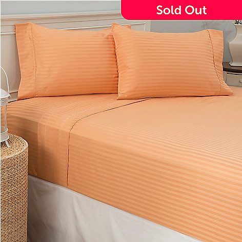 442-890 - North Shore Linens™ 450TC 100% Cotton Damask Striped Four-Piece Sheet Set