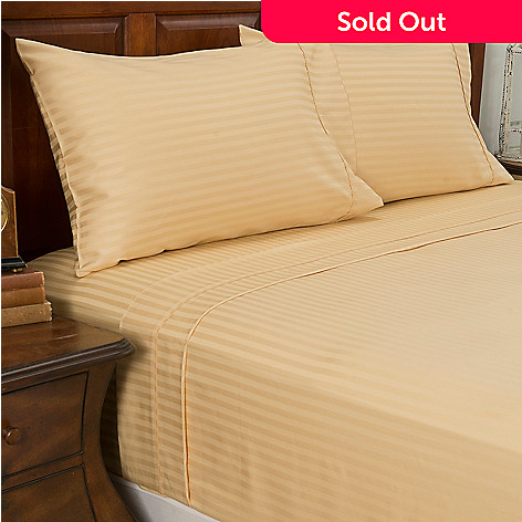 442-891 - North Shore Linens™ 450TC 100% Cotton Sateen Striped Four-Piece Sheet Set
