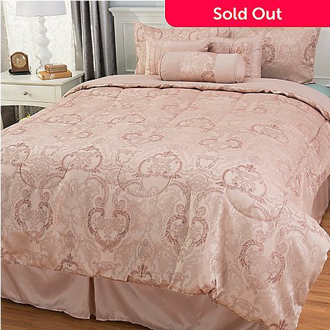 442-960 - North Shore Linens™ Scrollwork Jacquard Seven-Piece Bedding Ensemble