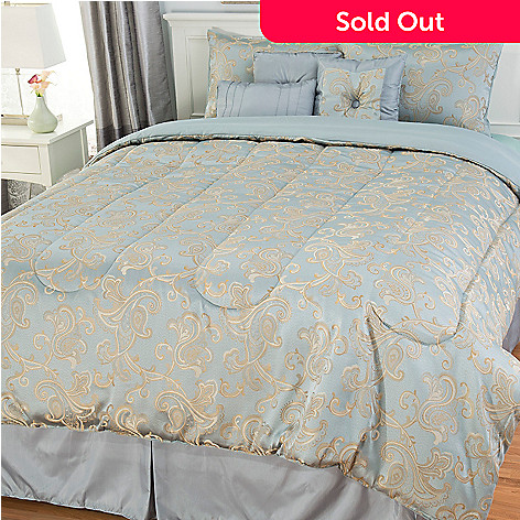 442-963 - North Shore Living™ Floral Scrollwork Seven-Piece Bedding Ensemble