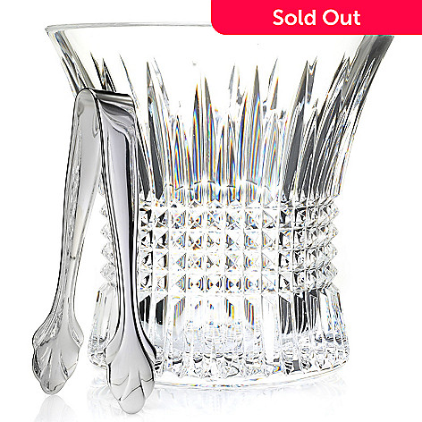 443-599 - Waterford Crystal Lismore Diamond Two-Piece Flared Ice Bucket & Tongs Set