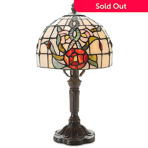 443-684 - Tiffany-Style 15'' Floral Mini Stained Glass Accent Lamp