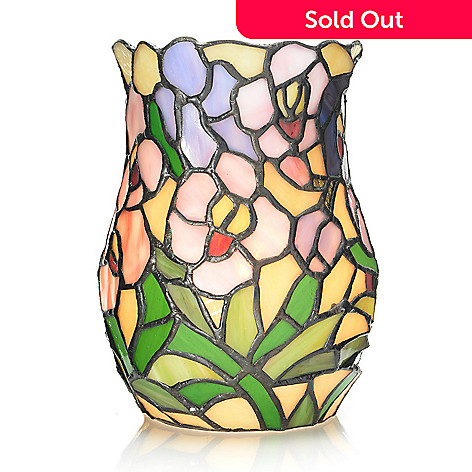 444-203 - Tiffany-Style 8'' Orchid Hour Stained Glass Vase Accent Lamp