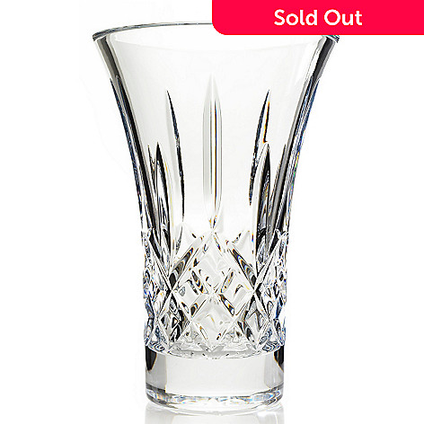 444-220 - Waterford Crystal Lismore 8'' Diamond & Wedge Cut Flared Vase