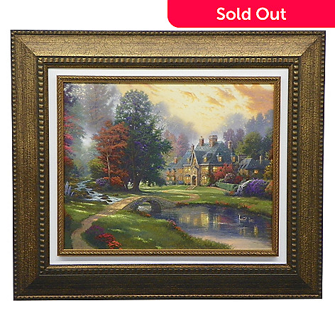 444-225 - Thomas Kinkade ''Lakeside Manor'' Framed Textured Floating Print