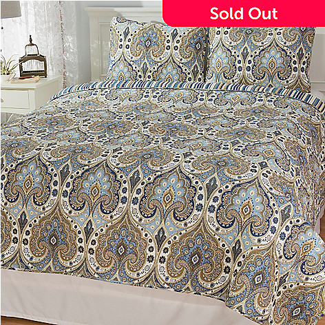 444-332 - Cozelle® Cotton / Poly Blend Damask & Striped Reversible Three-Piece Quilt Set
