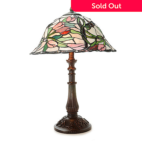 444-353 - Tiffany-Style 22'' Braided Tulips Stained Glass Table Lamp