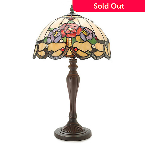 444-357 - Tiffany-Style 20'' Rose Nouveau Stained Glass Table Lamp