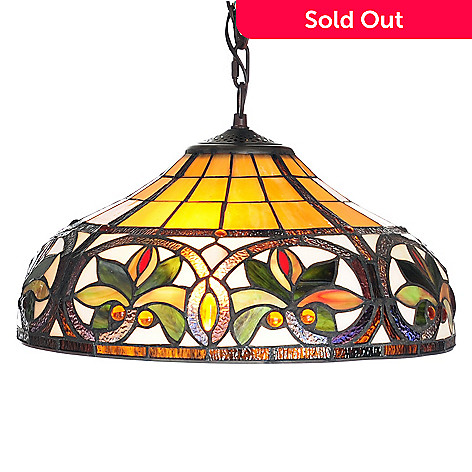 444-370 - Tiffany-Style 60'' Geometric Stained Glass Hanging Lamp