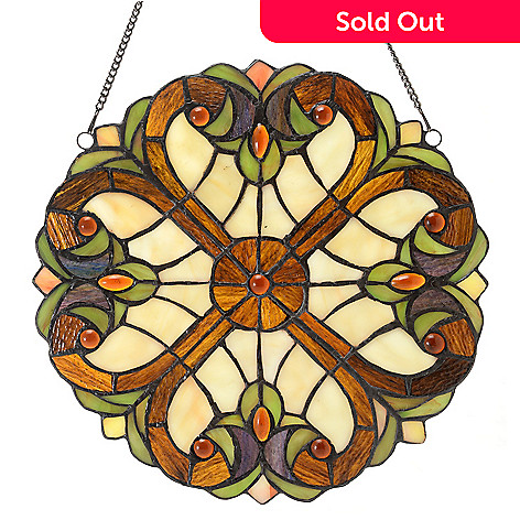 444-474 - Tiffany-Style 12'' Halston Suncatcher Stained Glass Window Panel