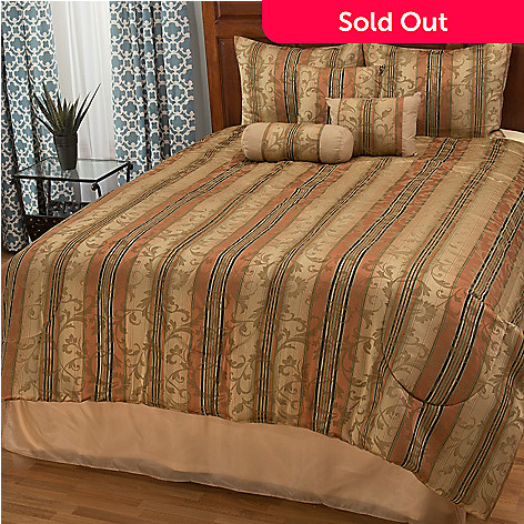 445-242 - North Shore Linens™ Striped Jacquard Seven-Piece Bedding Ensemble