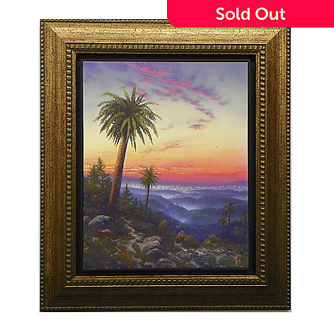 445-273 - Thomas Kinkade ''Desert Sunset'' Floating Textured Framed Print