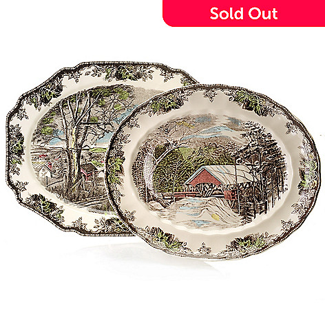 445-319 - Johnson Brothers Friendly Village Two-Piece Earthenware Platter Set