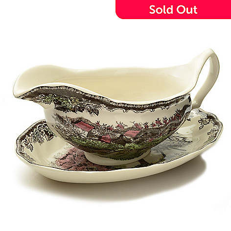 445-322 - Johnson Brothers Friendly Village Two-Piece Earthenware Gravy Boat & Stand