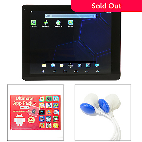 446-733 -  9.7'' Bluetooth® Android™ 16GB Total Storage Dual-Core Tablet w/ Google Play & Earbuds