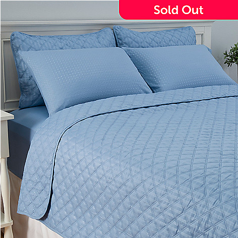 447-347 - Cozelle® Microfiber Seven-Piece Sheet & Reversible Coverlet Set