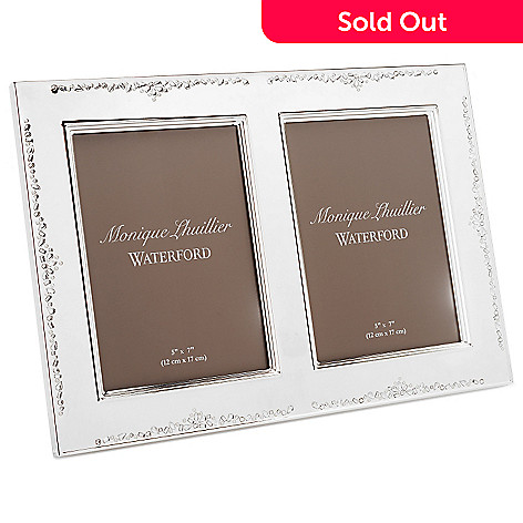 447-369 - Waterford Monique Lhuillier 5'' x 7'' Silver Lacquer Coated Double Frame