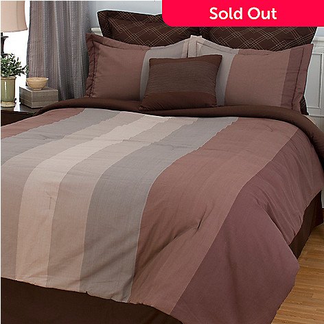 448-519 - Cozelle® 100% Cotton Wide Striped Seven-Piece Bedding Ensemble