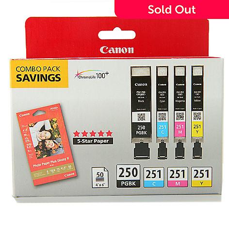 449-042 - Canon PIXMA Black & Color Ink Cartridge Combo Pack w/ Photo Paper