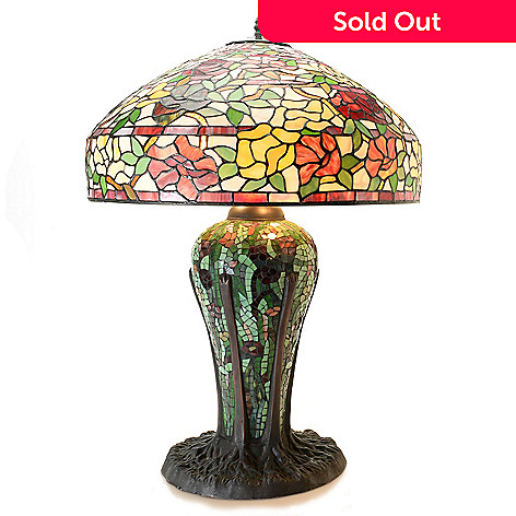 Tiffany style 32 elaborate rose stained glass table lamp w 453 553 tiffany style 32 elaborate rose stained glass table lamp w aloadofball Gallery