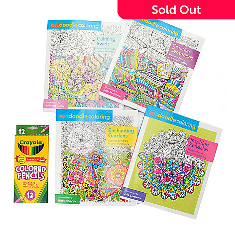 459 618 Zendoodle Set Of Four Coloring Books W 12 Colored Pencils