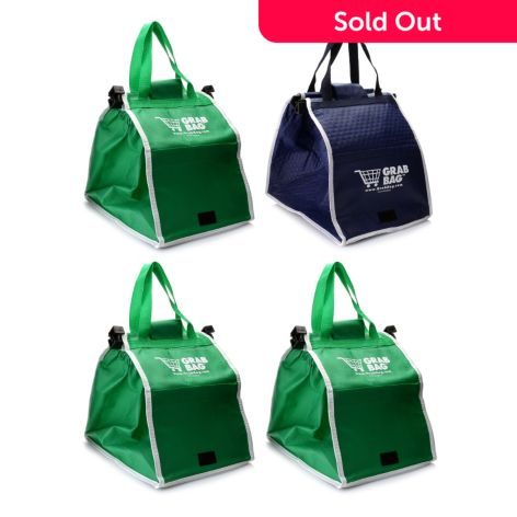 Grab Bag Set of Four Expandable & Reusable Shopping Bags w/ Cart Clips