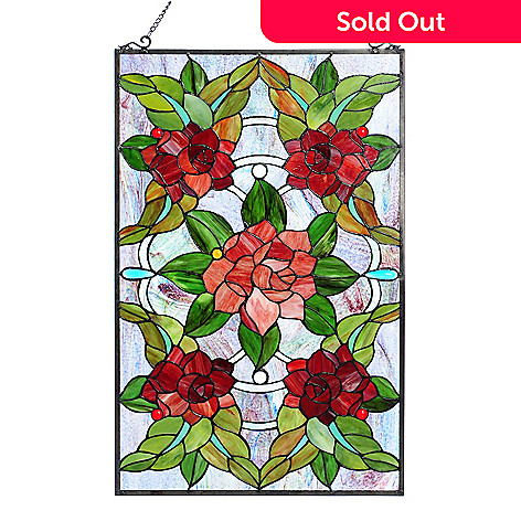 Tiffany Style Grandiose Rosette Stained Glass Window Panel W