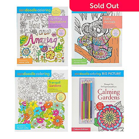 465 145 Zendoodle Set Of Four Coloring Books W Six Two Sided