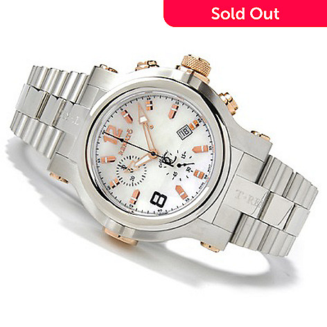 600-327 - Renato Men's T-Rex Mother-of-Pearl Chronograph Stainless Steel Watch