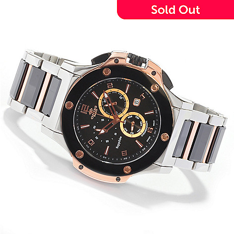 603-618 - Oniss Men's Swiss Quartz Chronograph Ceramic Bracelet Watch