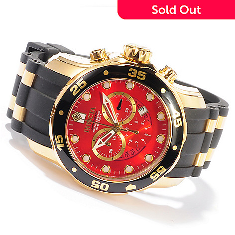 603-673 - Invicta Men's Pro Diver Scuba Quartz Chronograph 18K Gold Plated Strap Watch