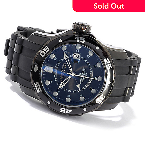 603-676 - Invicta Men's Pro Diver Scuba Quartz GMT Date Window IP Case Polyurethane Strap Watch