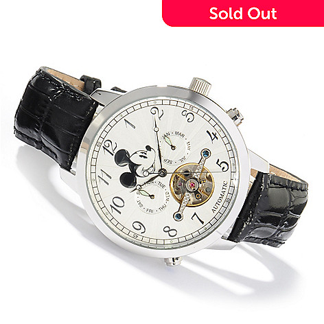 604-039 - Elgin Men's Mickey Mouse Collectors Open Heart Automatic Leather Strap Watch