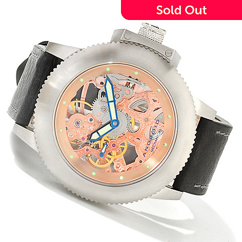 604-072 - Android Men's Divemaster Trans-50 Skeleton Mechanical Leather Strap Watch