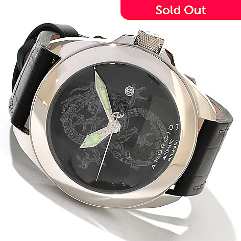 604-324 - Android Men's Tattooed Banker Dragon Edition Leather Strap Watch