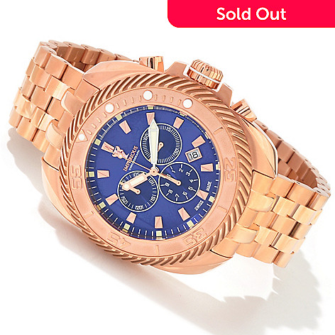 604-476 - Imperious Men's Gearhead Swiss Quartz Chronograph 18K Gold-Plated Stainless Steel Bracelet Watch