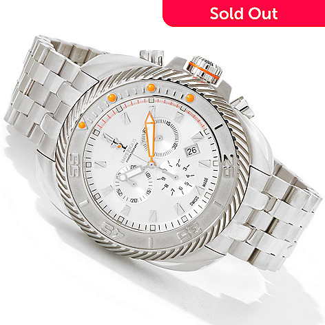 604-477 - Imperious Gearhead Men's Swiss Quartz Chronograph Date Window Stainless Steel Bracelet Watch