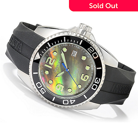 604-577 - Invicta Men's Pro Diver Sport Automatic Mother-of-Pearl Dial Polyurethane Strap Watch
