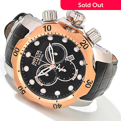 604-624 - Invicta Reserve 52mm Venom Swiss Quartz Chronograph Leather Strap Watch w/ One-Slot Dive Case