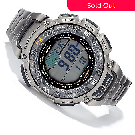 604-657 - Casio Pathfinder Titanium Quartz Solar Powered Bracelet Watch