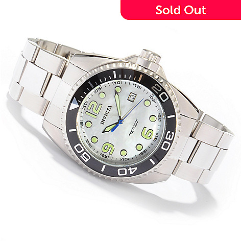 604-725 - Invicta Men's Grand Diver Mother of Pearl Stainless Steel Bracelet Watch