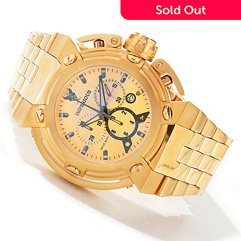 604-877 - Imperious Men's X-Wing Swiss Chronograph 18K Gold Plated Bracelet Watch