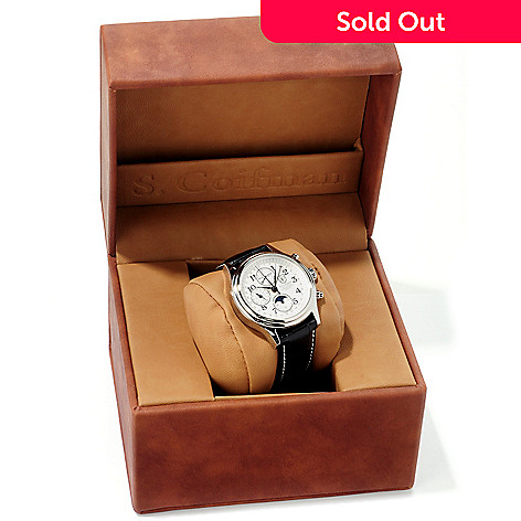 604-880 - S. Coifman Men's Swiss Made Automatic Chronograph Moon Phase Dual Time Leather Strap Watch