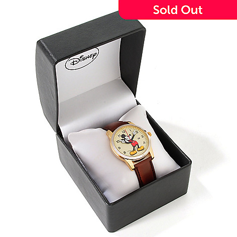 605-023 - Disney Men's Mickey Mouse 3-D Dial Design Leather Strap Watch