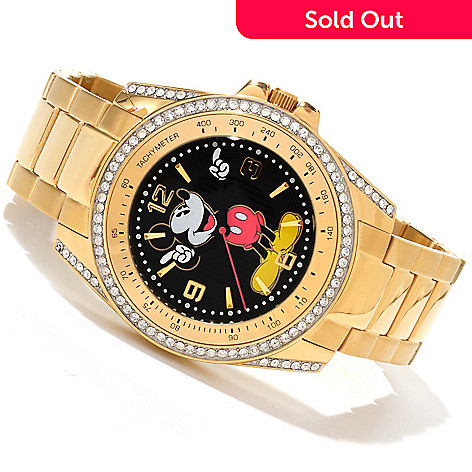 605-031 - Disney Men's Mickey Mouse Crystal Accented Quartz Stainless Steel Bracelet Watch