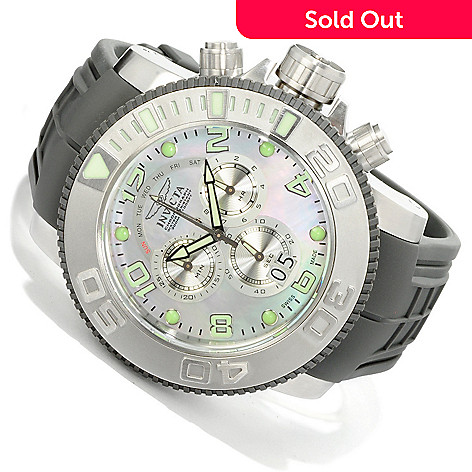 605-131 - Invicta 59mm Sea Hunter Swiss Quartz Chronograph Mother-of-Pearl Dial Polyurethane Strap Watch