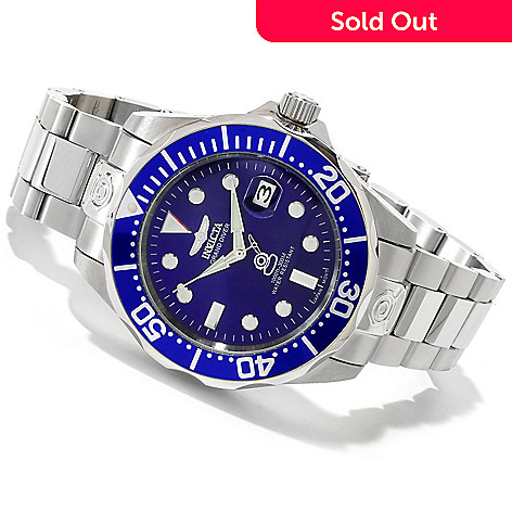 605-175 - Invicta Men's Grand Diver Automatic Stainless Case Bracelet Watch w/ Three-Slot Dive Case