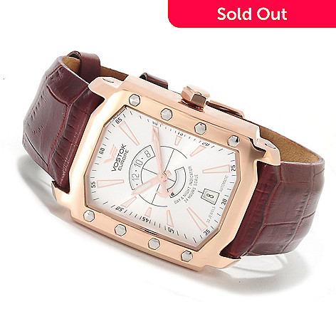 605-226 - Vostok-Europe Men's Arktika Limited Edition Automatic Leather Strap Watch