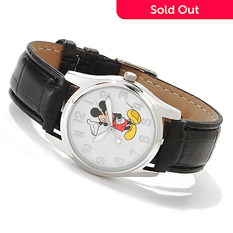 605-241 - Disney Men's or Women's Mickey Mouse Quartz Leatherette Strap Watch