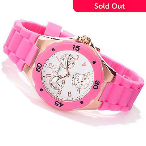 605-325 - Invicta Women's Angel Jellyfish Day and Date Silicone Strap Watch